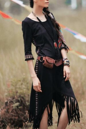 Hippie Style Fringe Embroidered Dress