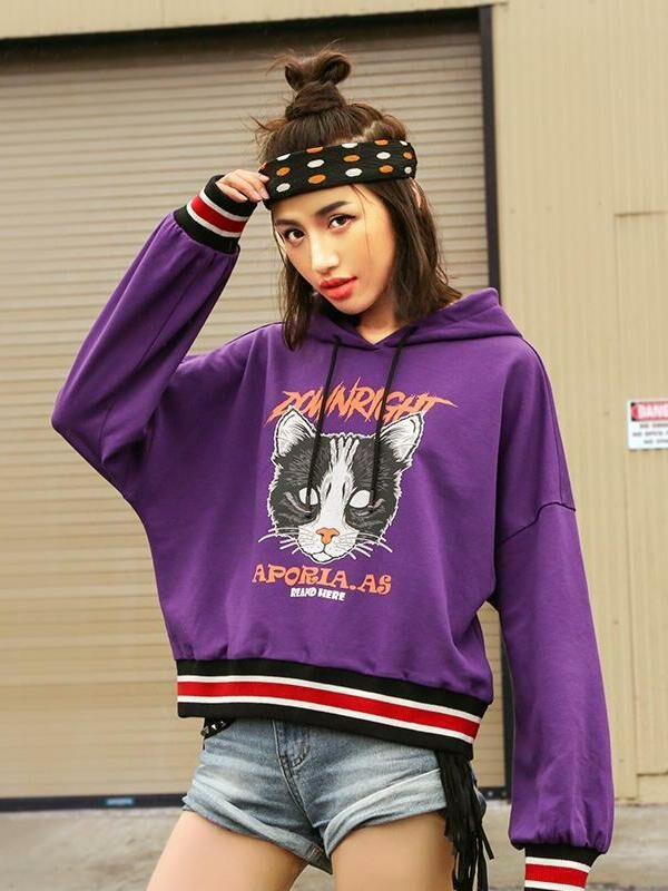 Cartoon Printed Hooded Sweater