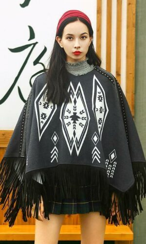 Ethnic Style Poncho With Tassels