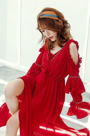 Bohemian Ruffle Red Dress
