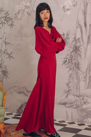 Backless Bat Sleeve Long Dress