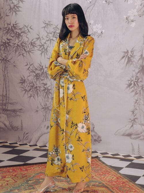 Floral Puff Sleeve Robe Jacket