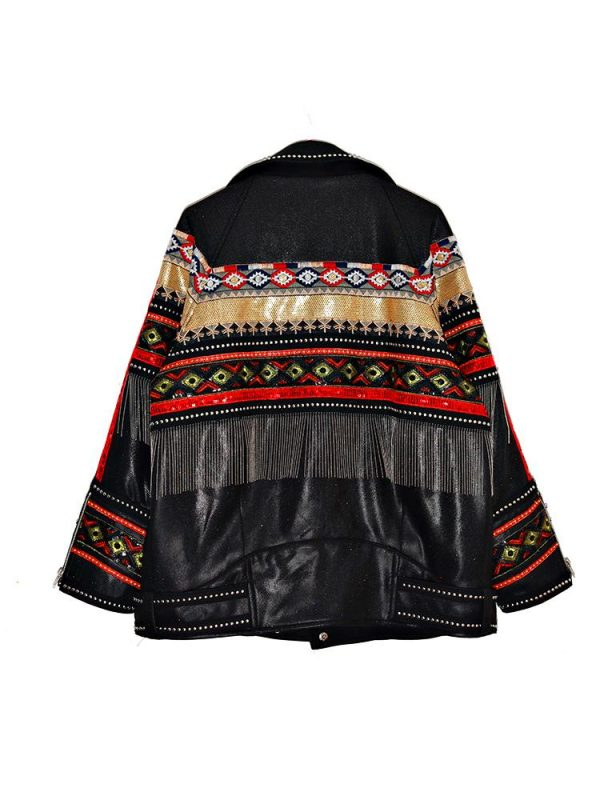 Black Hippie Embroidered Leather Jacket