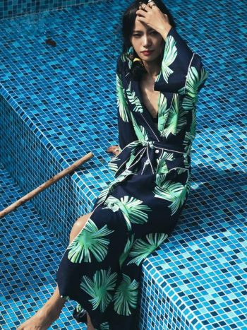 Tropical Print Beach Robe