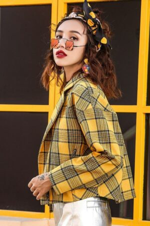Yellow Plaid Short Jacket