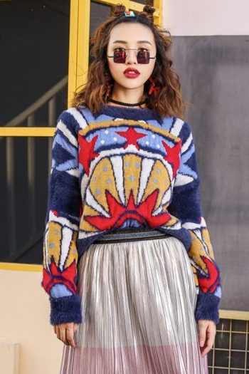 Retro Style Hit Color Sweater