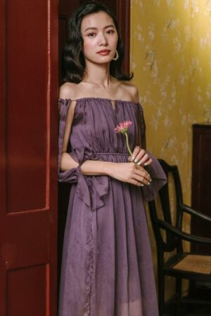 Off Shoulder Fairy Purple Dress