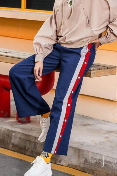Stripe Side Wide Leg Jeans