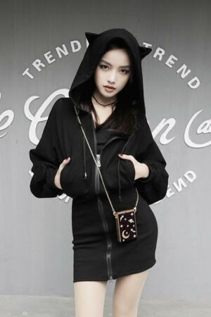 Sweater Hooded Dress With Cat Ears