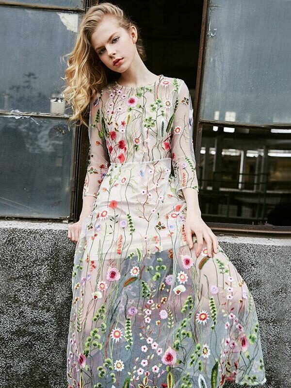 Bohemian Floral Embroidered Long Dress