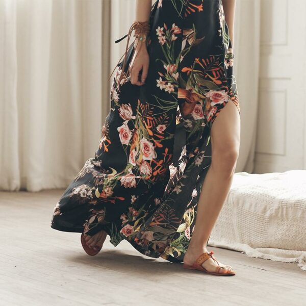 Backless Sexy Black Floral Dress