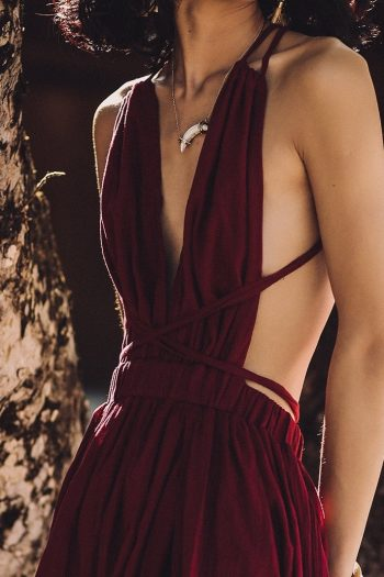 Backless Sexy Wine Red Dress