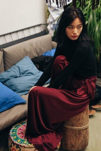 Wine Red Wide Leg Trousers