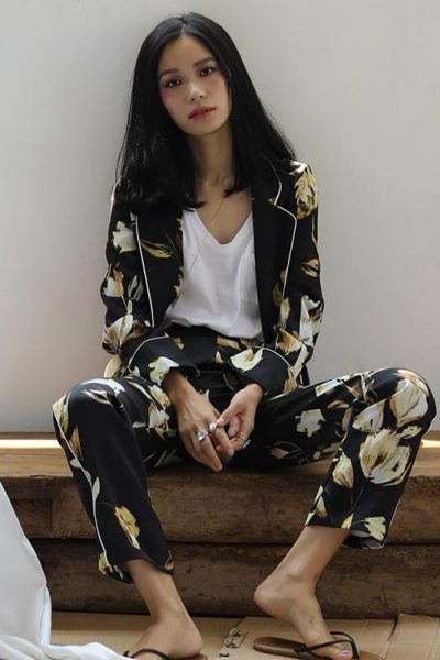 Pajama Style Floral Suit
