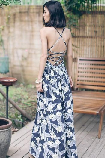 Backless Floral Vacation Dress