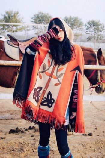 Ethnic Hooded Cape Coat